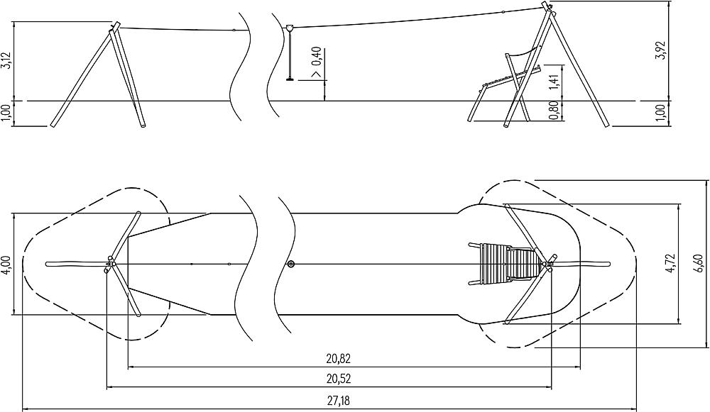 aerial cable way Tardo with start platform 20 m