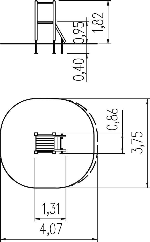 Slide platform, ph 95 cm