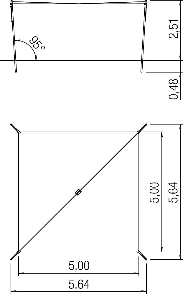 Awning height-adjustable 5x5 m