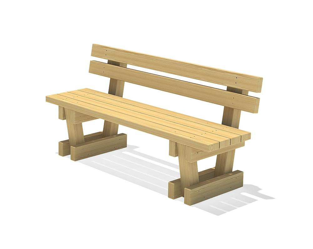 Square timber bench Spessart with backrest 150
