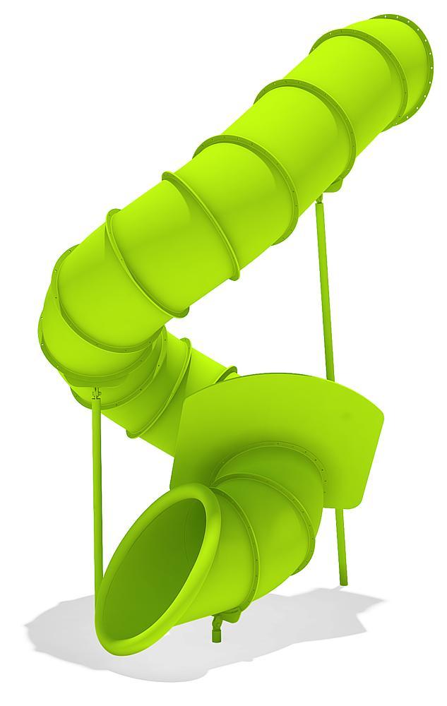 Tubular add-on slide 360 degree, spiralled to right, ph 345 cm