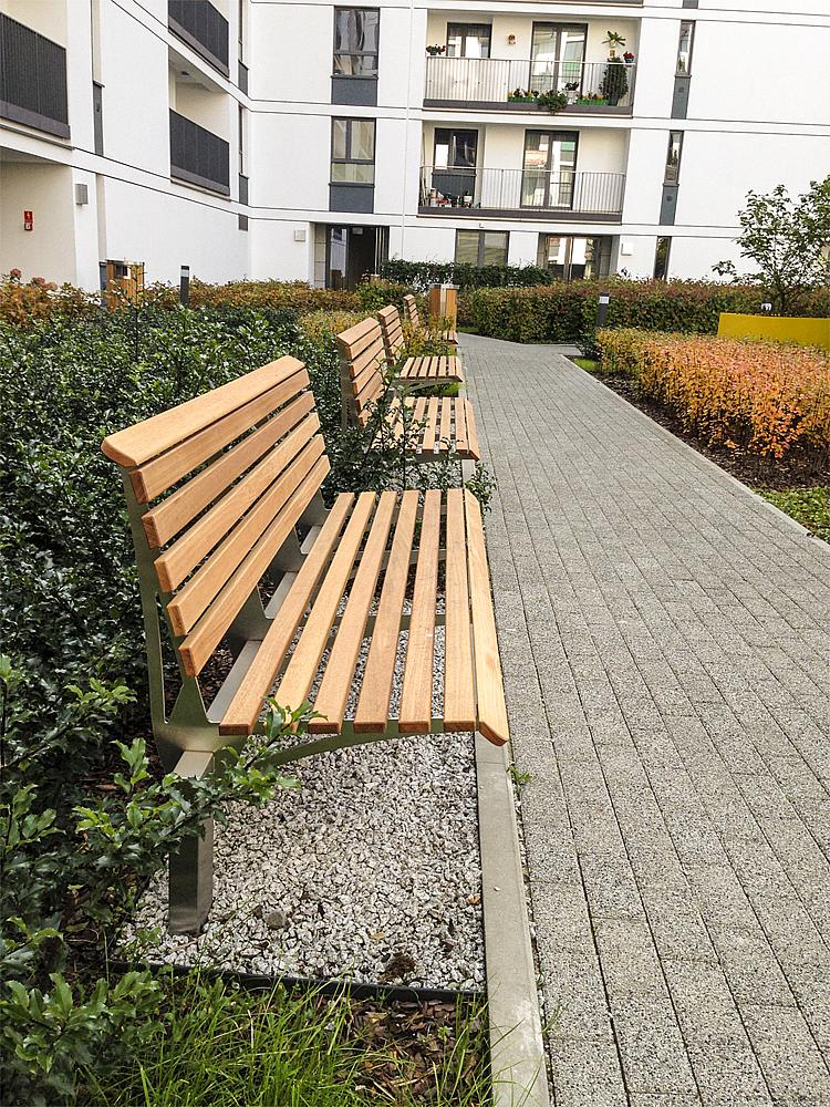 Bench with backrest Fuchsia