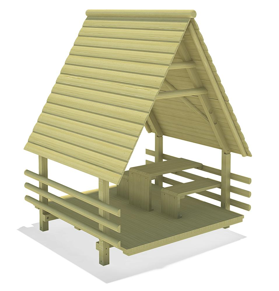 Log cabin with rest area