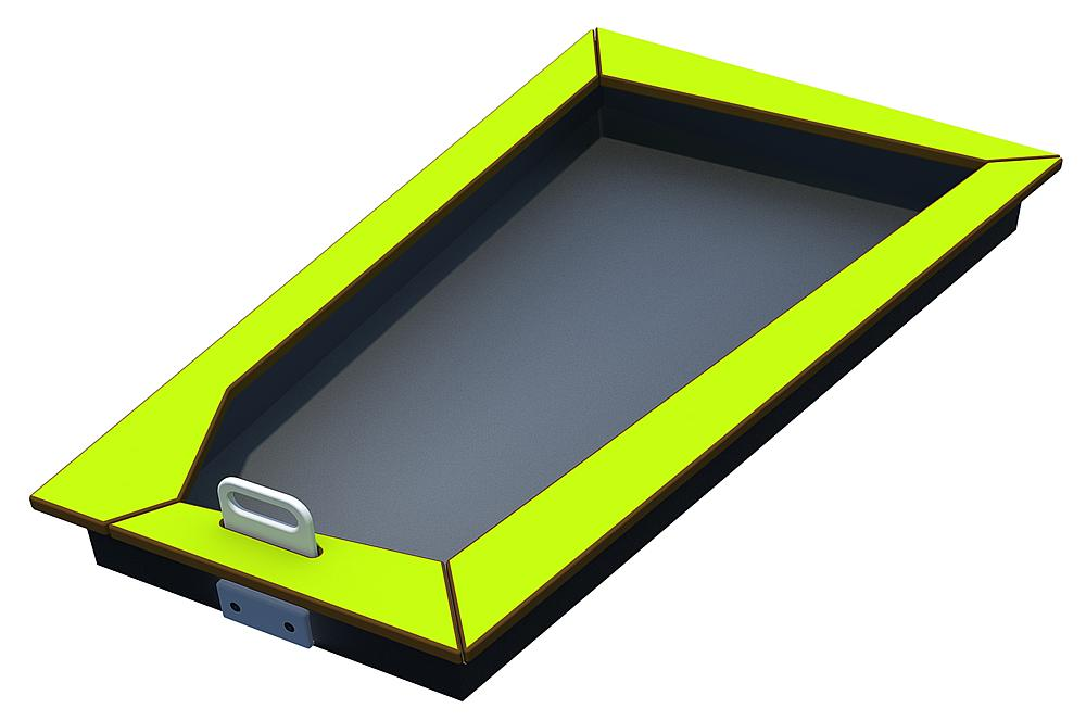 Valve basin square 1 valve HPL stainless steel/HPL iguana