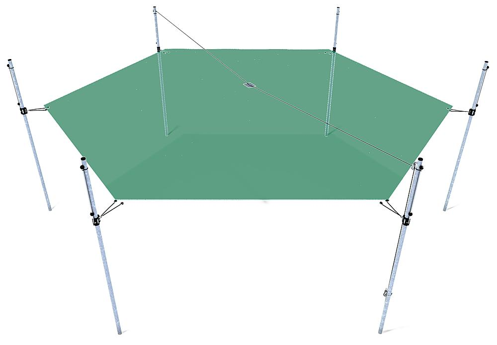 Awning height-adjustable hexagon