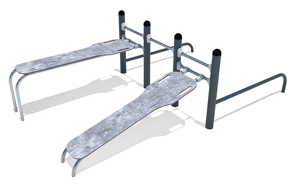 Calisthenics Combi 02 sit-ups and push-ups, FL 3 steel, stainless steel, HPL anthracite-concrete