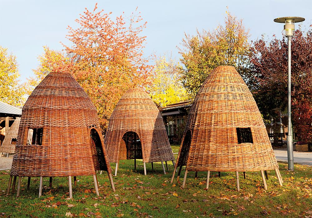 Wicker huts, 3 pcs.
