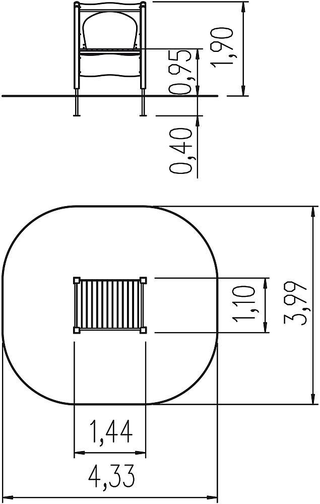 Broad slide platform, ph 95 cm