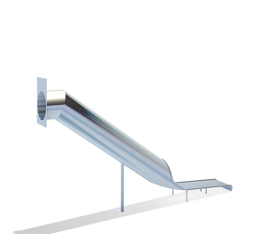Tubular slide straight, stainless steel, ph 295 cm
