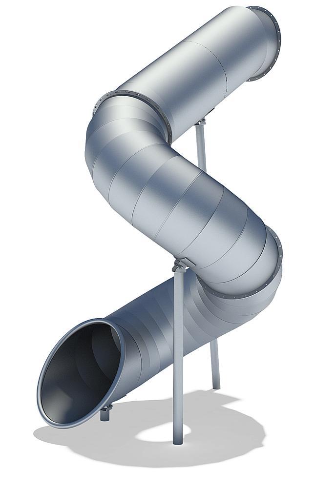 Tubular add-on slide 270 degree, spiralled to left, stainless steel, ph 345 cm