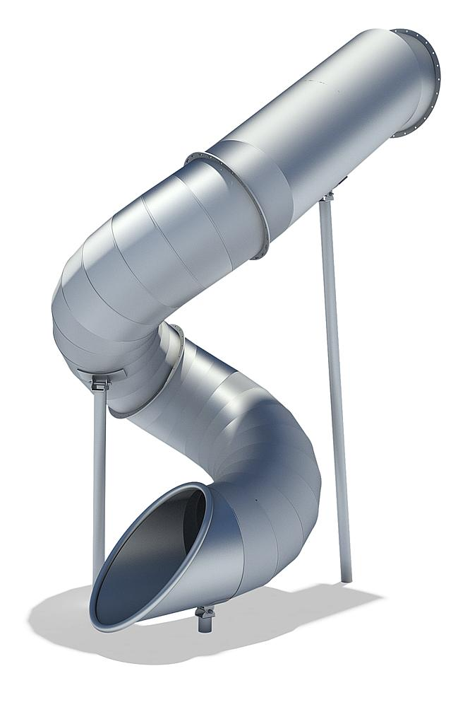 Tubular add-on slide 270 degree, spiralled to right, stainless steel, ph 345 cm