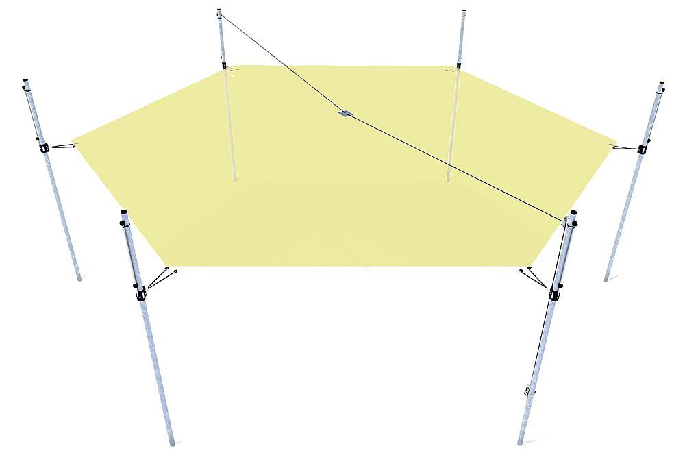 Awning height-adjustable hexagon