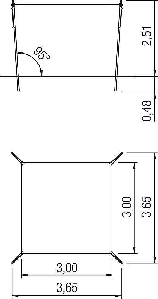 Awning height-adjustable 3x3 m